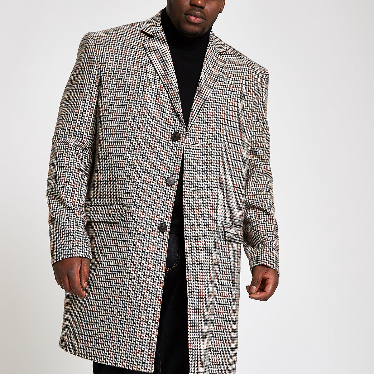 Big & Tall brown check smart overcoat