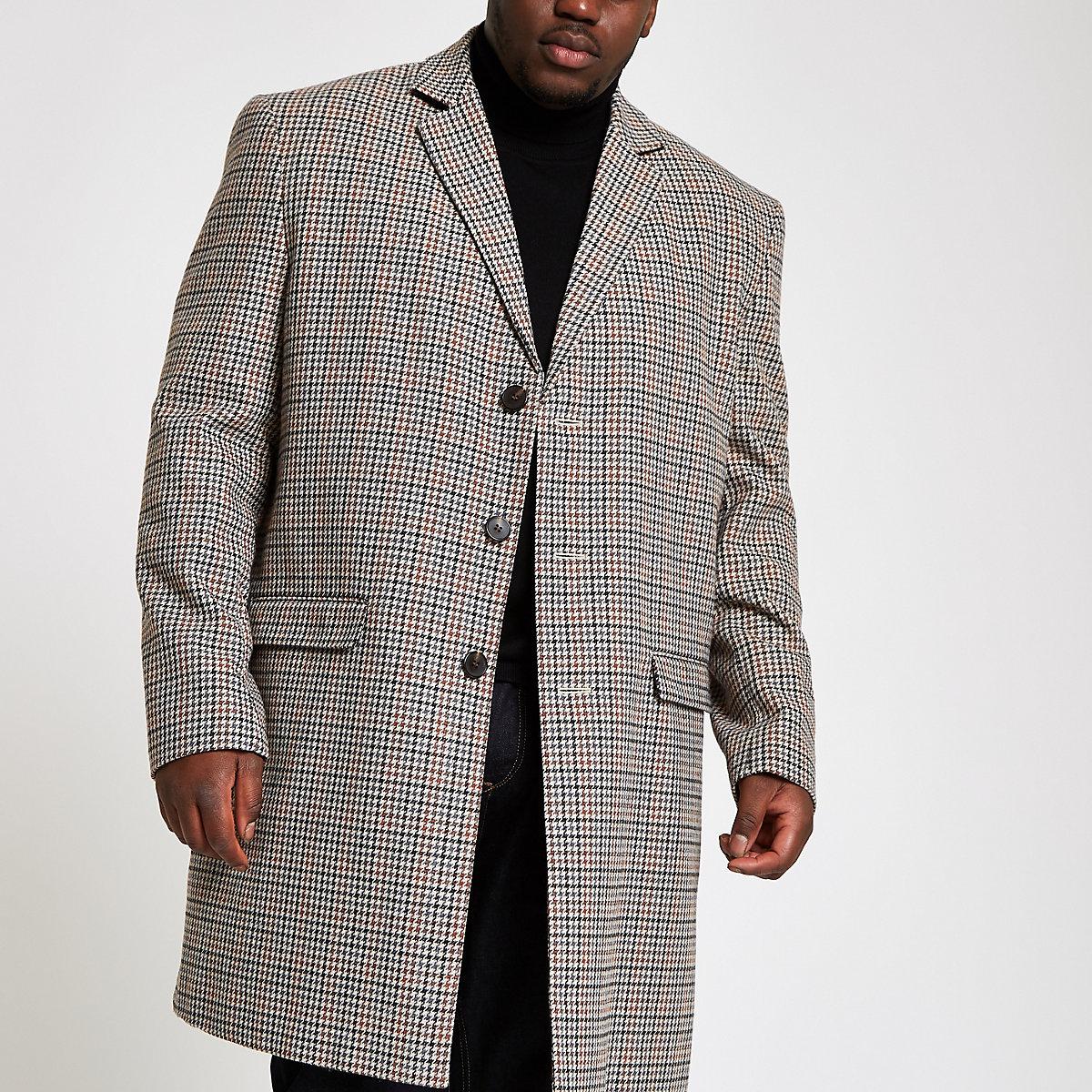 Big & Tall – Brauner, eleganter Mantel mit Karos