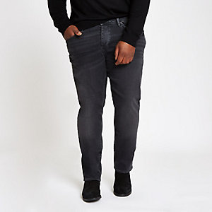 Big and Tall black wash slim fit jeans