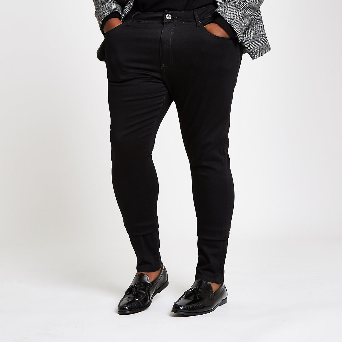 Big & Tall – Schwarze Super Skinny Jeans