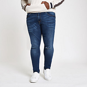 Big and Tall dark blue super skinny jeans