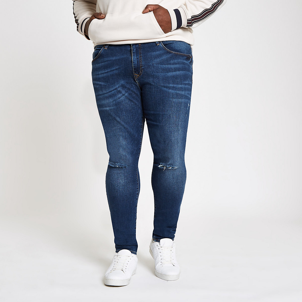Big & Tall – Dunkelblaue Super Skinny Jeans