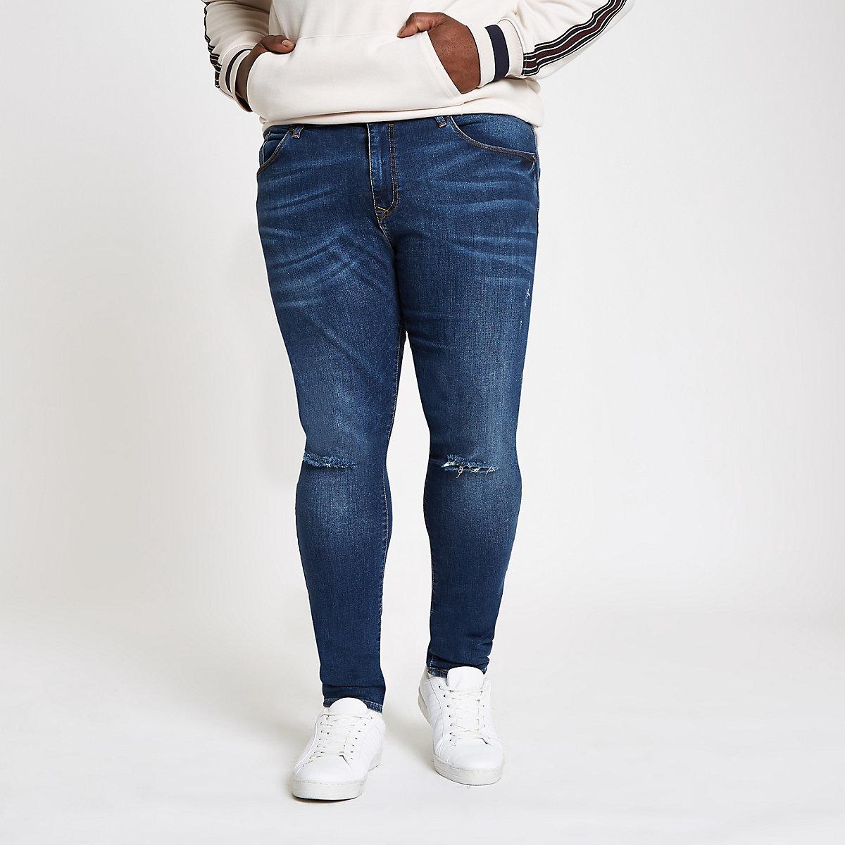 Big and Tall – Jean ultra skinny bleu foncé
