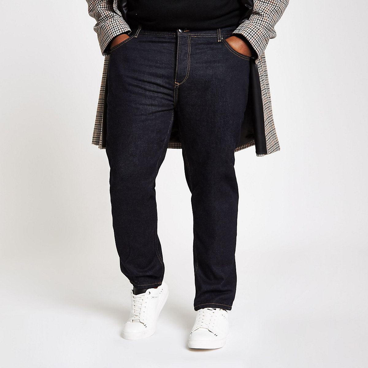 Big and Tall dark blue tapered jeans