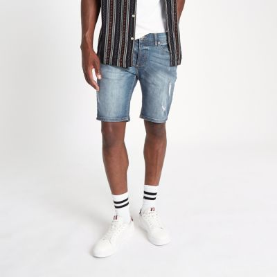 Sid   Middenblauwe Ripped Skinny Fit Denim Short by River Island