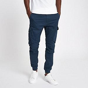 Pantalon cargo fuselé bleu marine