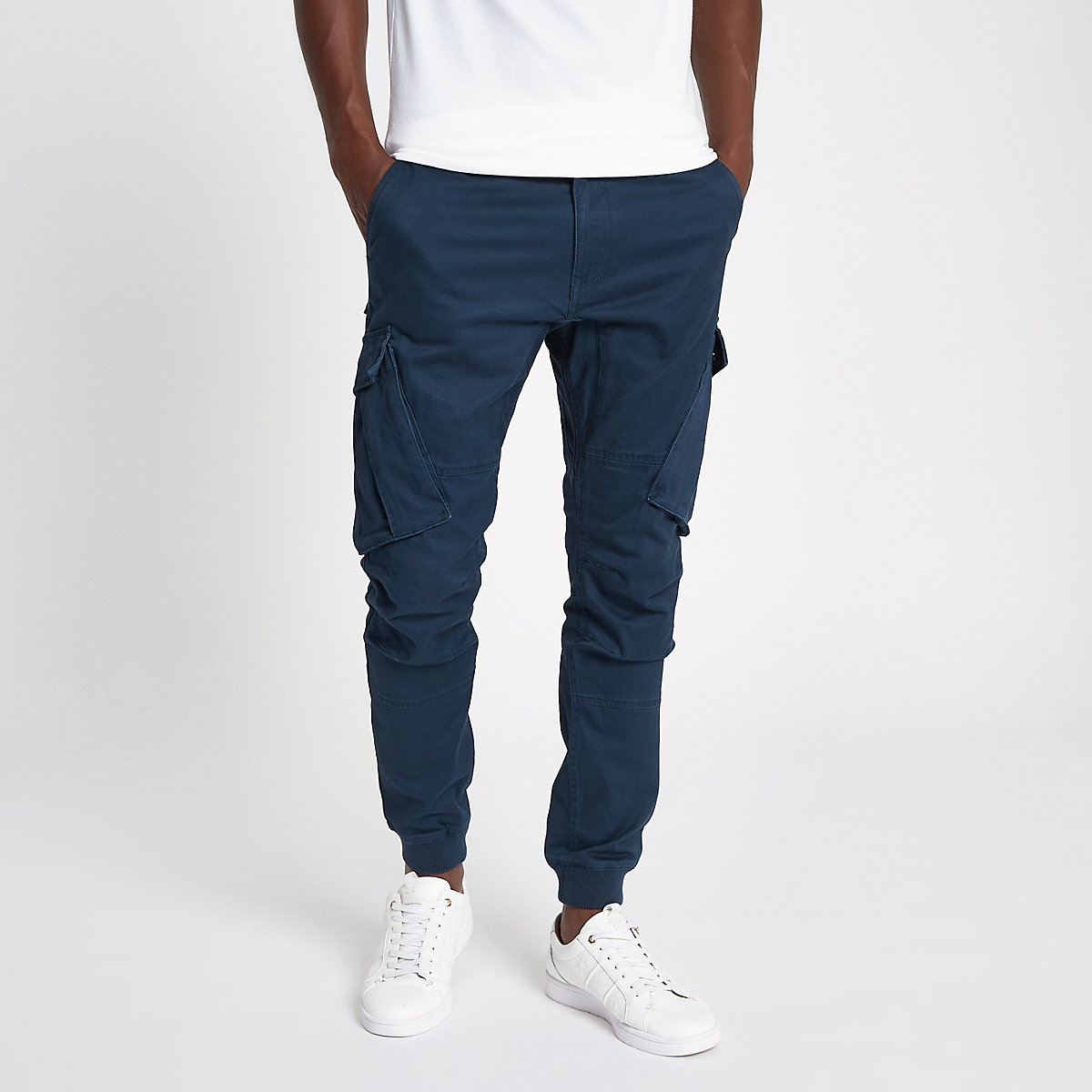 Navy tapered cargo trousers