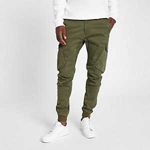 Khaki green tapered cargo pants