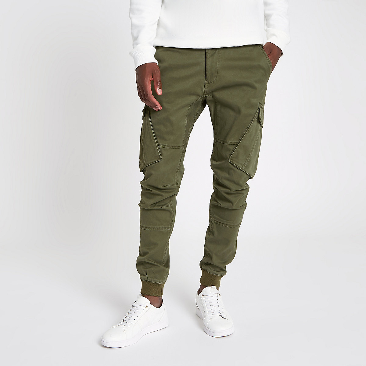 0b95495cdc1 Khaki green tapered cargo trousers - Casual Trousers - Trousers - men