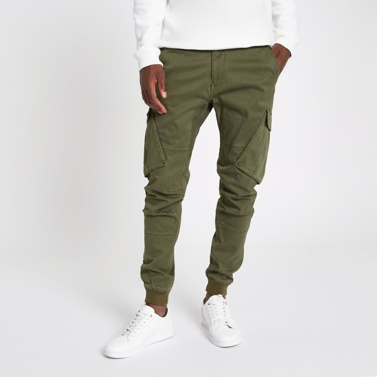 Khaki green tapered cargo trousers