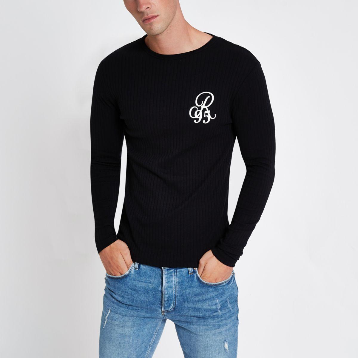 T-shirt imprimé R95 côtelé noir slim à manches longues