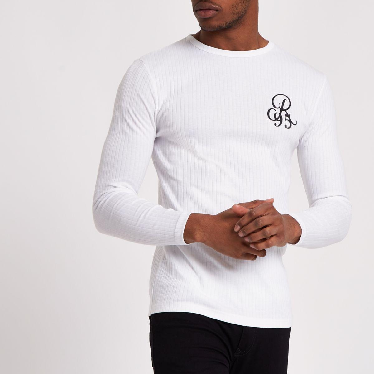 White Rib 'R95' Flock Print Slim Fit T Shirt by River Island