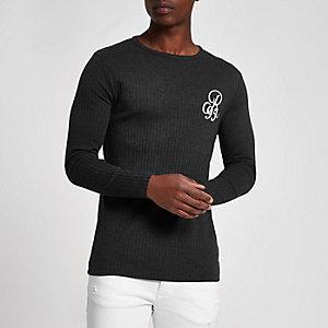 T-shirt imprimé R95 côtelé gris slim à manches longues