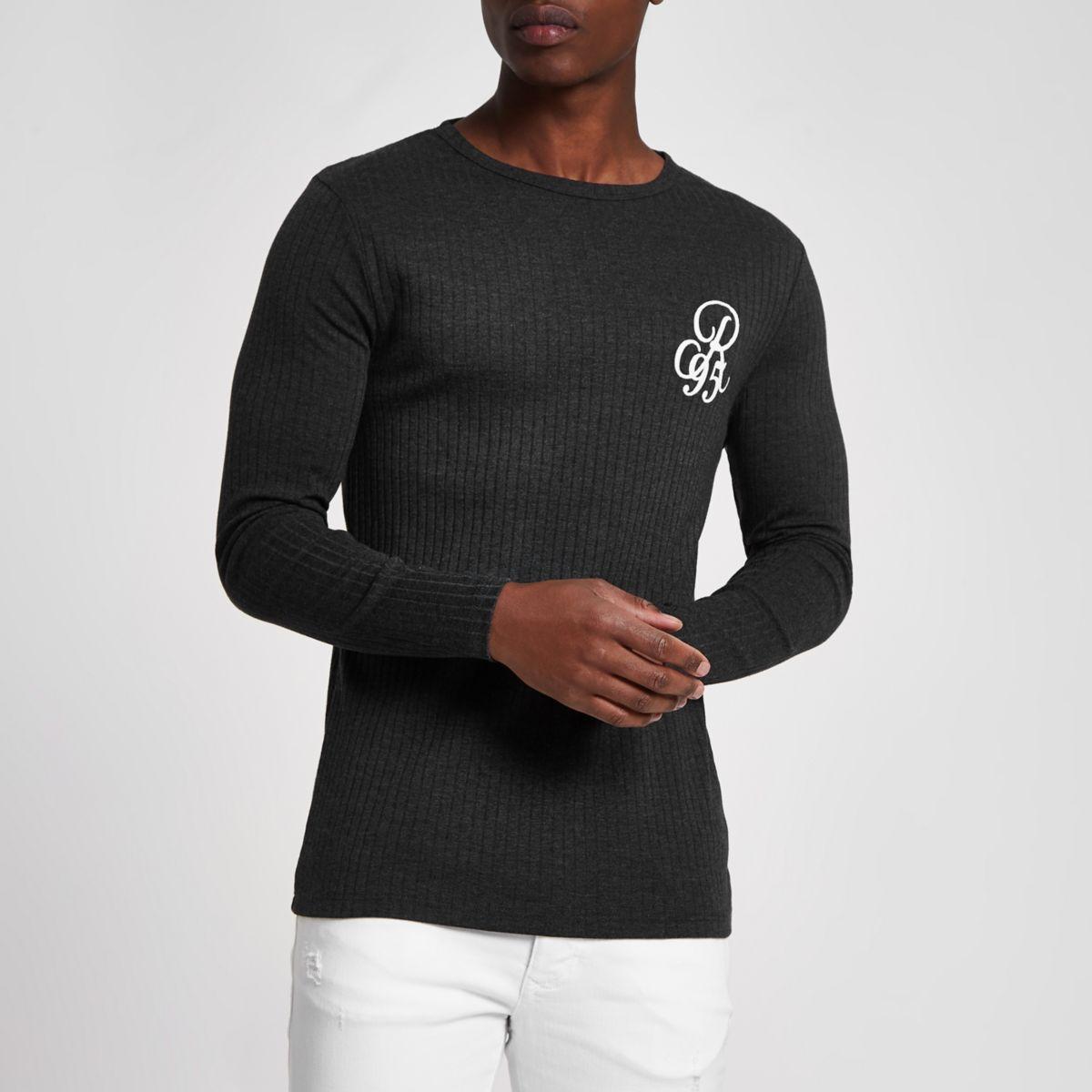 Grey rib 'R95' long sleeve slim fit T-shirt