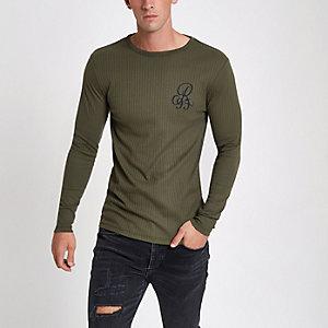 T-shirt côtelé imprimé R95 floqué vert coupe slim