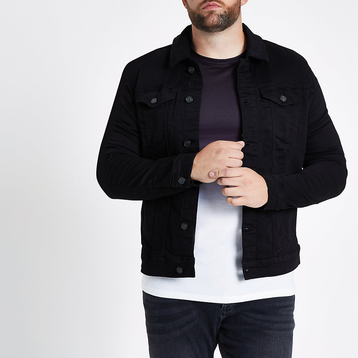 f90bb977353 Big and Tall black denim jacket - Jackets - Coats   Jackets - men