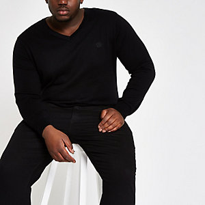 Big and Tall slim fit black v neck jumper