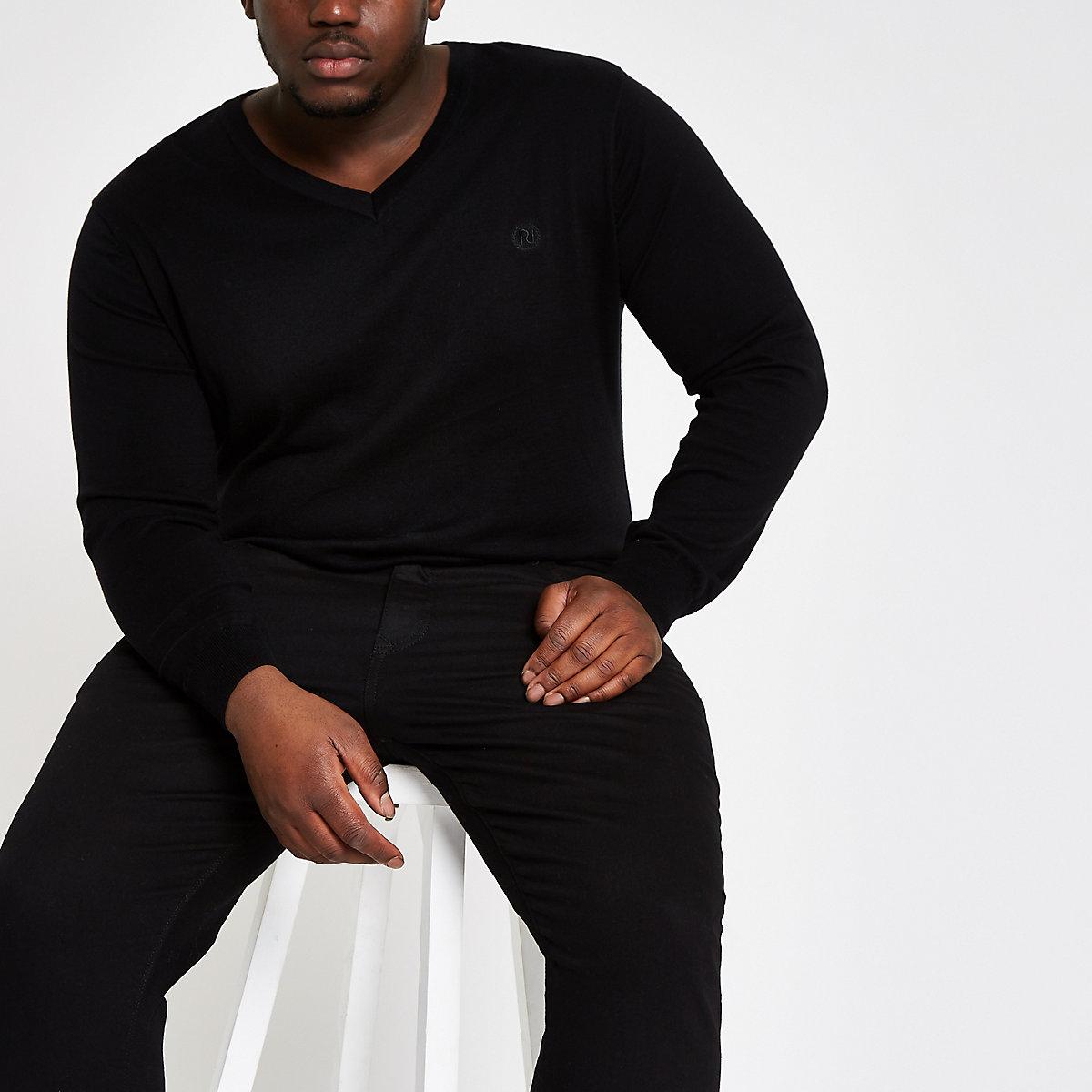Big and Tall – Pull slim col V noir