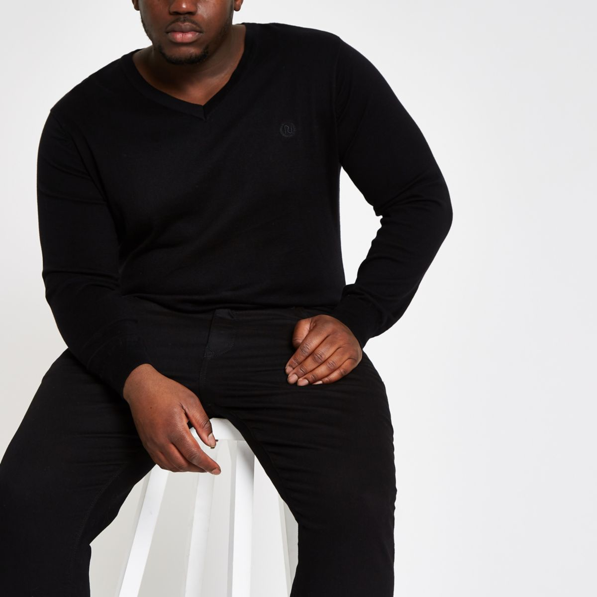 Big & Tall slim fit black v neck jumper