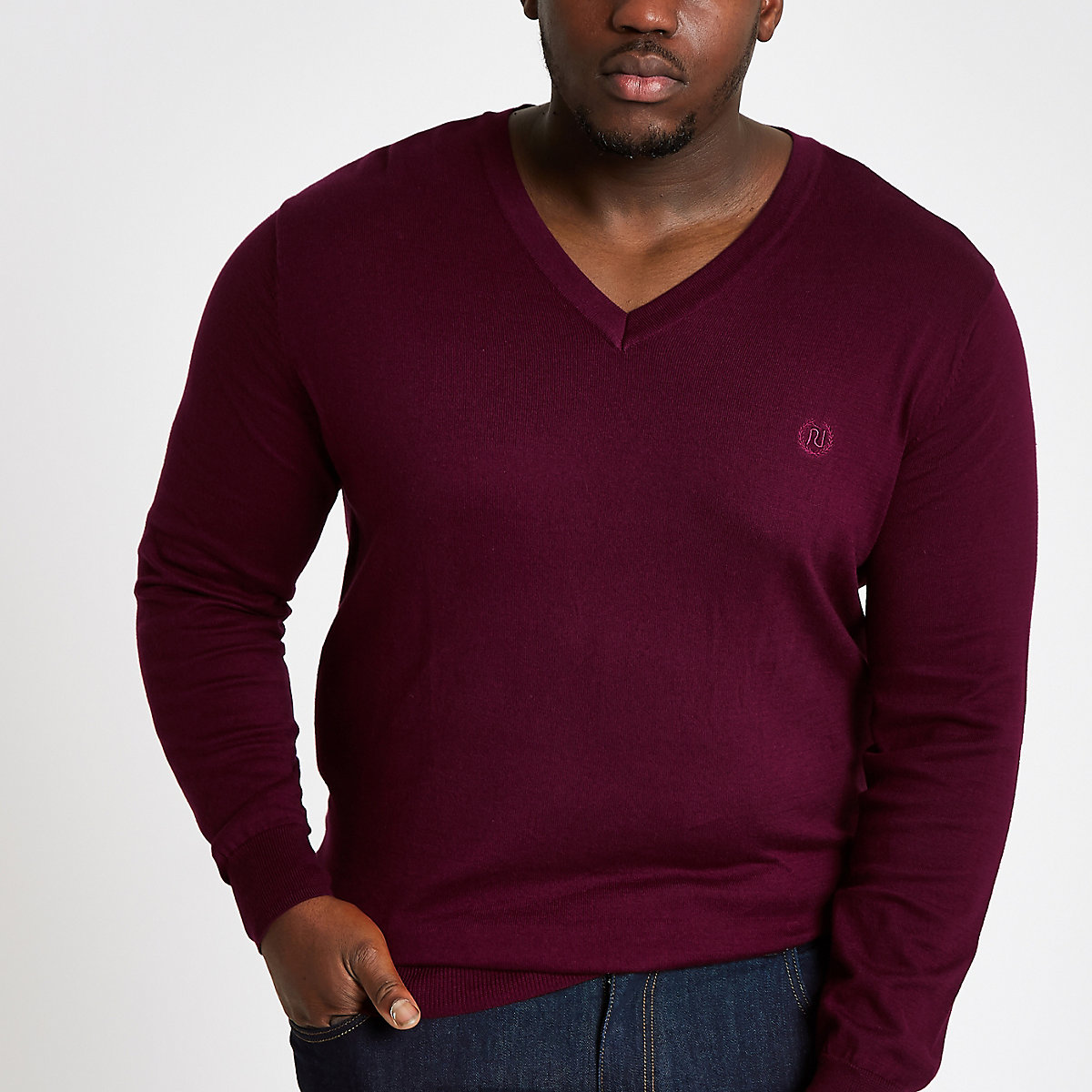 Big & Tall slim fit burgundy v neck jumper