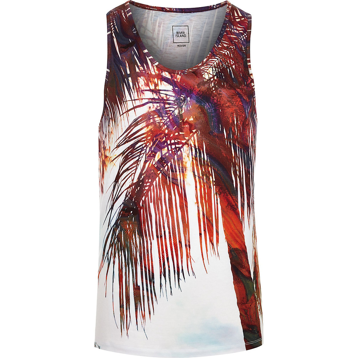 Big and Tall white palm print vest