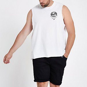 Big and Tall white 'ninety' print tank