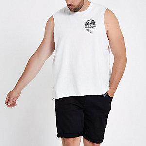 RI Big and Tall - Wit hemd met 'ninety'-print