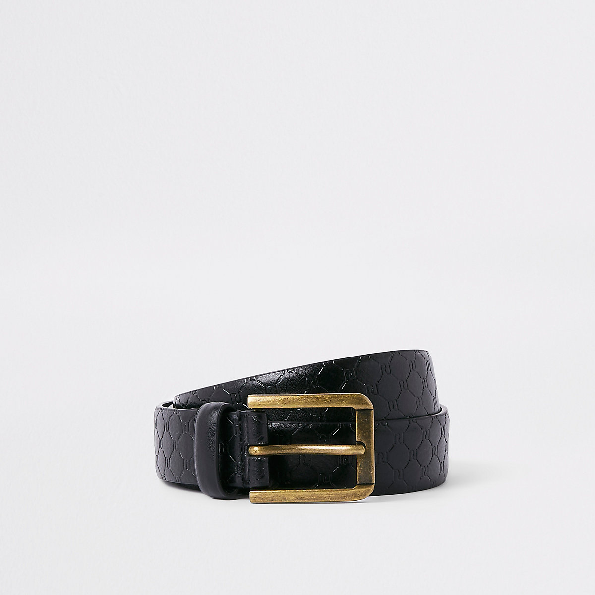 Black RI monogram belt