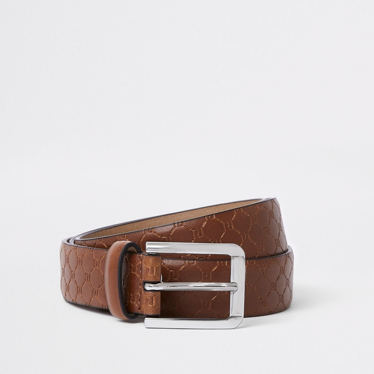 Brown RI monogram buckle belt