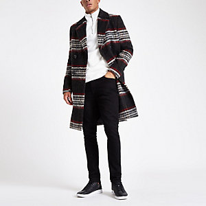Black and red brushed check wool overcoat