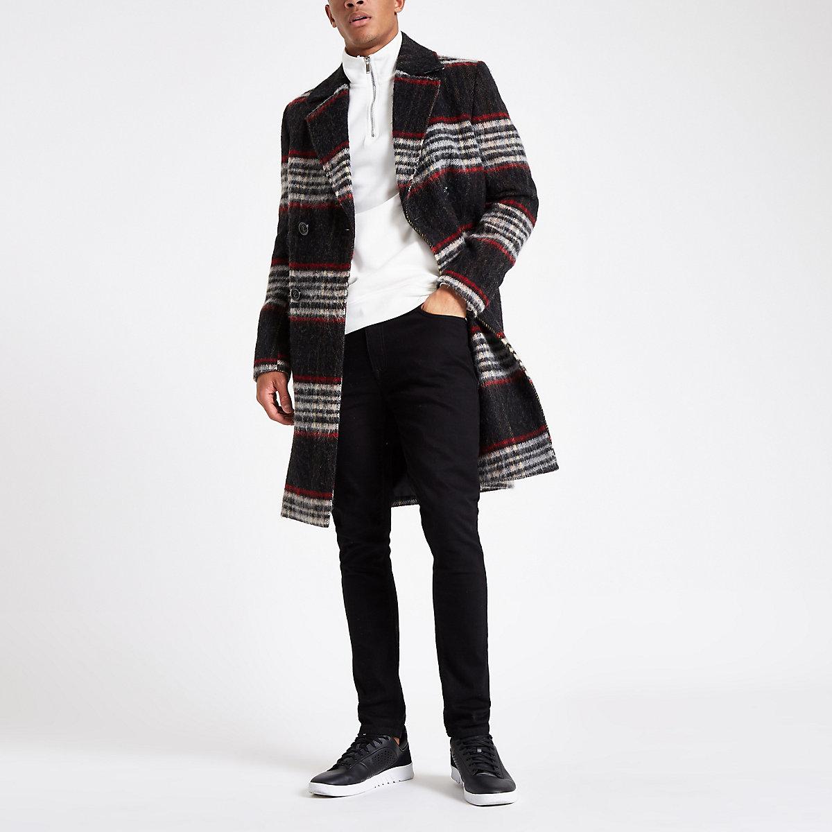 Pardessus en laine brossée à carreaux noir et rouge