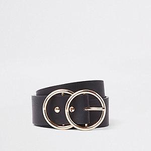 Zwarte riem met twee ringen