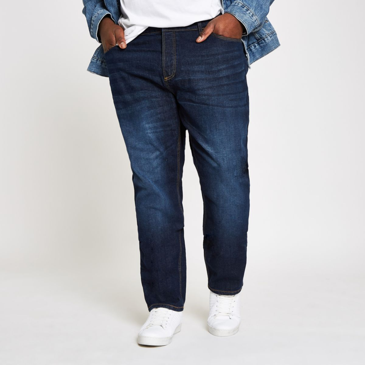 Big and Tall  dark blue slim fit jeans