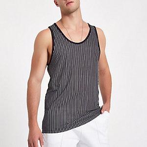 White and black stripe print tank