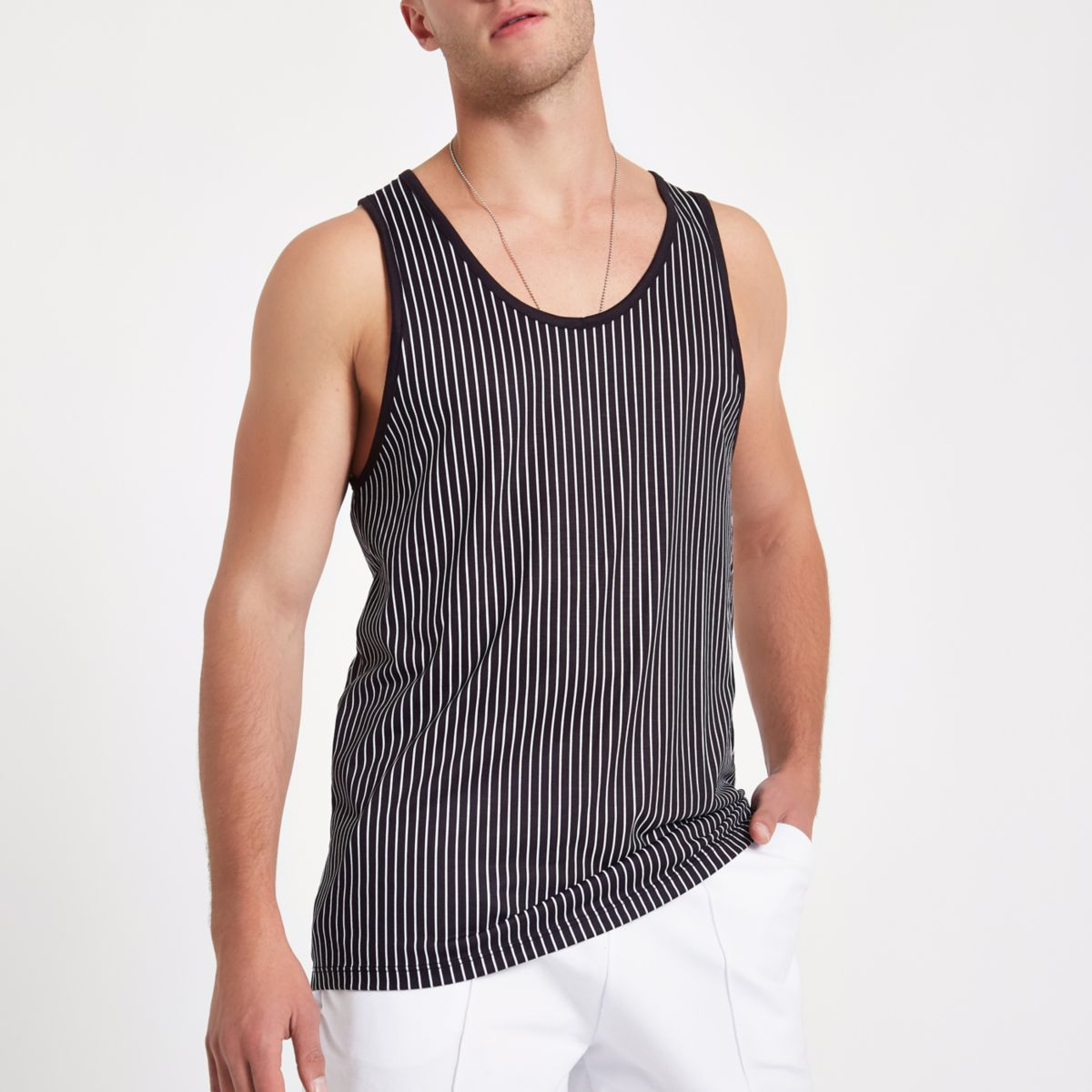 White and black stripe print tank