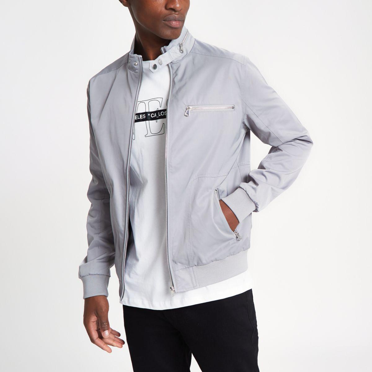 Grey racer neck jacket