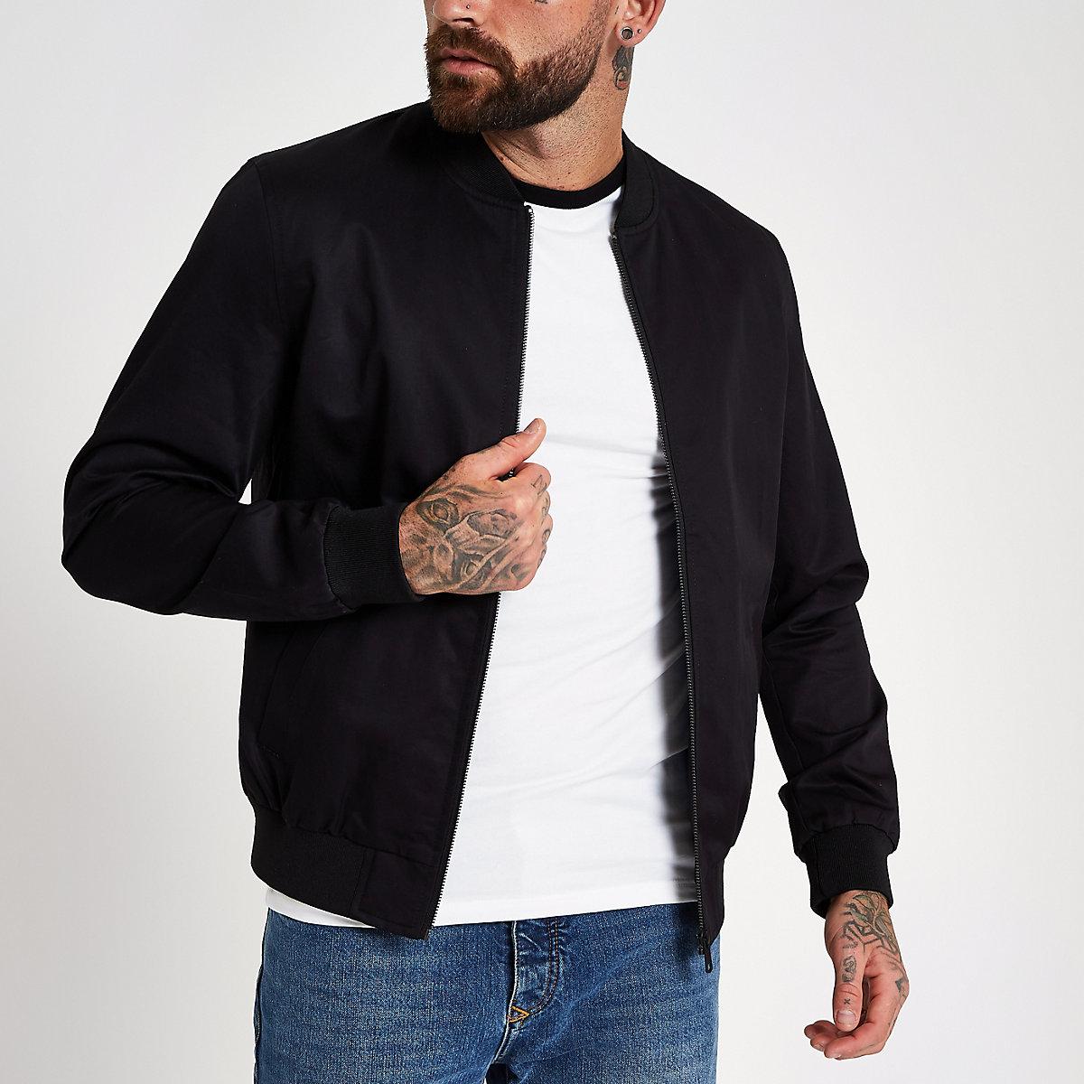 Black zip-up bomber jacket