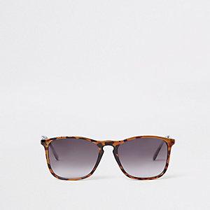 Zwarte tortoise zonnebril met kunststof montuur