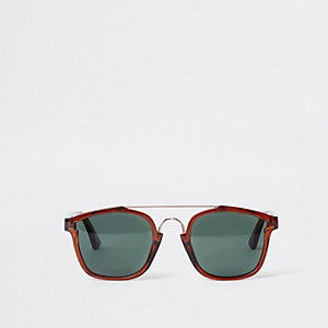 Dark brown brow bar aviator sunglasses