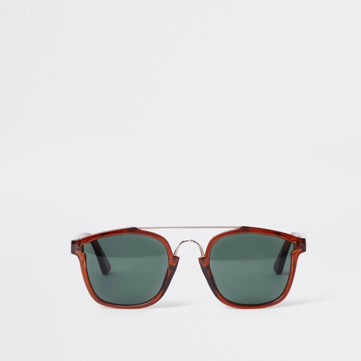 Dark brown brow bar aviator sunglasses