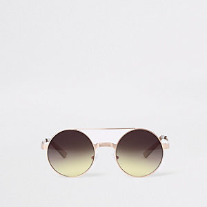 Gold tone brow bar round sunglasses