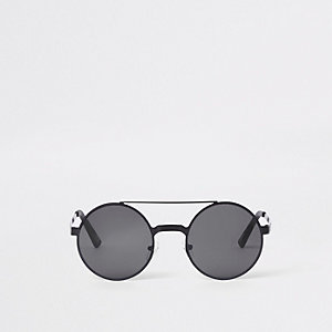 Black brow bar round sunglasses