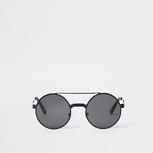 Zwarte ronde zonnebril met dubbele neusbrug