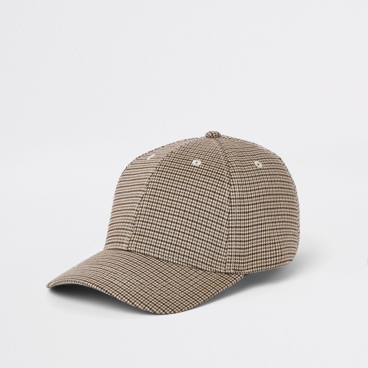 Ecru check baseball cap