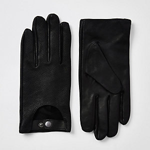 Gants de conduite en cuir noir