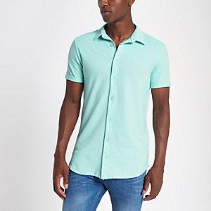 Light green muscle fit button up shirt