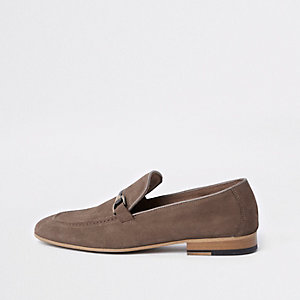 Brown suede snaffle loafers