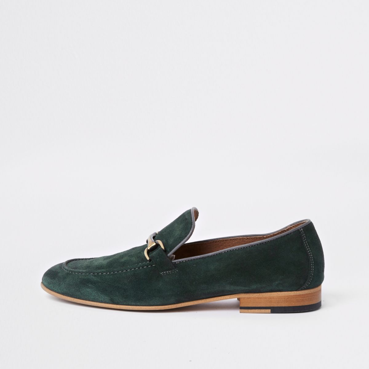 Green suede snaffle loafers