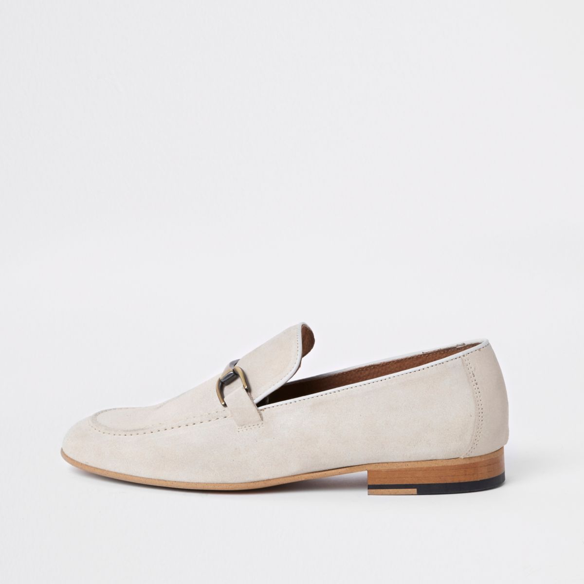 Stone suede snaffle loafers