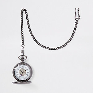 Grey gunmetal pocket watch